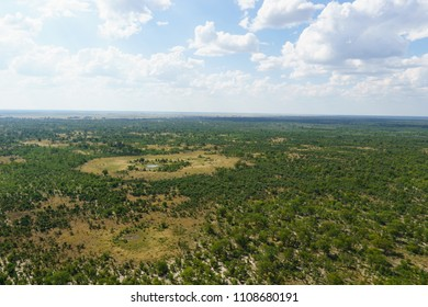 Linyanti forests and floodplains, Chobe National Park, Botswana - aerial view.