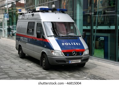 LINZ - AUGUST 5: Police van Mercedes Sprinter of Austrian Federal Police on August 5, 2008 in Linz, Austria. Austrian Federal Police employs approximately 20,000 persons.