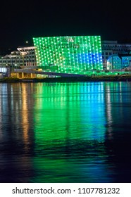 LINZ AUSTRIA - 05/04/2014; Th Ars Electronica Center or AEC a center for electronic Arts on the shoreline of the River Danube in Austria illuminated at night