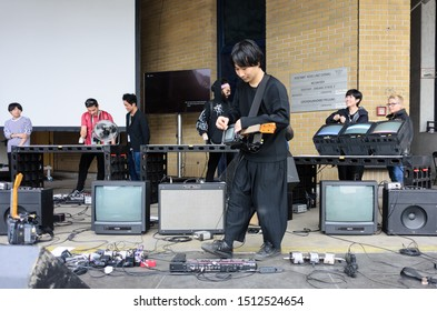 linz, austria, 08 sep 2019, asian band performing at the ars electronica in the former mail distribution center, exhibition of electronic arts