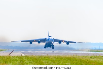 linz, austria, 17 july 2019, antonov an-124-100 cargo aircraft, volga dnepr take off at bule danube airport linz hörsching