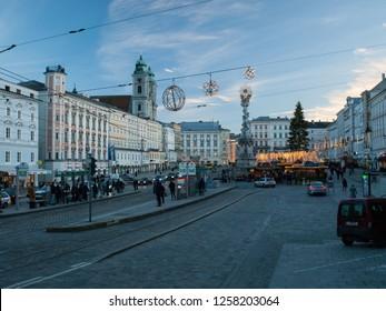 Linz, Austria - 5th December 2018 - City center of Linz with shops during Christmas market.
