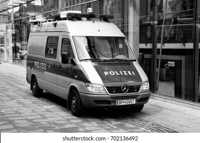 LINZ, AUSTRIA - AUGUST 5, 2008: Police van Mercedes Sprinter of Austrian Federal Police on August 5, 2008 in Linz, Austria. Austrian Federal Police employs approximately 20,000 persons.