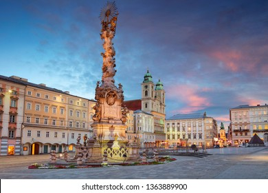 Linz, Austria. Cityscape image of main square of Linz, Austria during sunset.