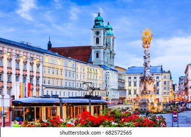Linz, Austria. Holy Trinity column on the Main Square (Hauptplatz).