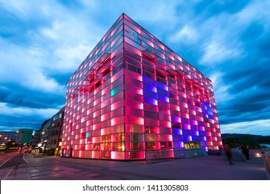 LINZ, AUSTRIA - MAY 14, 2017: The Ars Electronica Center or AEC is a center for electronic arts run by Ars Electronica located in Linz, Austria.