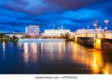 LINZ, AUSTRIA - MAY 14, 2017: Linz city centre and Danube river in Austria. Linz is the third largest city of Austria.