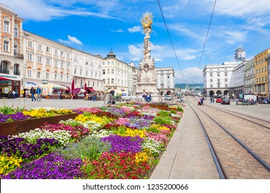 LINZ, AUSTRIA - MAY 15, 2017: Holy Trinity column on the Hauptplatz or main square in the centre of Linz, Austria. Linz is the third largest city of Austria.