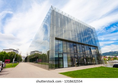 LINZ, AUSTRIA - MAY 15, 2017: Lentos Art Museum or New Gallery of the City of Linz, Austria. Lentos Art Museum is the most important modern art museums in Austria.