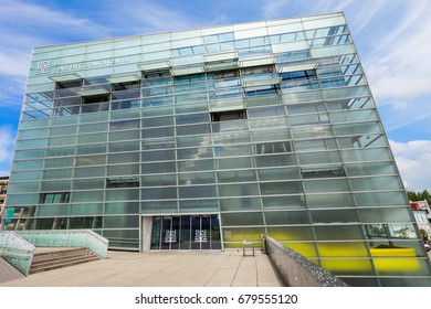 LINZ, AUSTRIA - MAY 15, 2017: The Ars Electronica Center or AEC is a center for electronic arts run by Ars Electronica located in Linz, Austria.