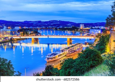 Linz, Austria. Nibelungen bridge over the Danube river.