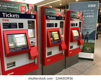 Linz, Austria - November 29th 2018 - Ticket machines at the Linz Central Station. - It is the main train station of upper austria with over 30,000 travelers per day.