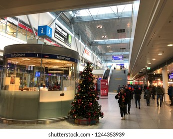 Linz, Austria - November 29th 2018 - Linz Central Station - It is the main train station of upper austria with over 30,000 travelers per day.