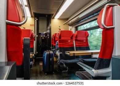 Linz, Austria - Oct 25, 2018. Interior of highspeed train in Linz, Austria. The railway network consists of 6,123km, its gauge is 1,435mm standard gauge.