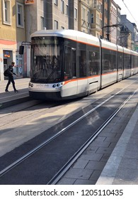 Linz, Austria - October 17. 2018 - tram in Linz - The 4 streetcar lines in Linz are crucial part of local public transport.