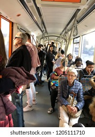Linz, Austria - October 17. 2018 - mainly students in a tram in Linz - The 4 streetcar lines in Linz are crucial part of local public transport.