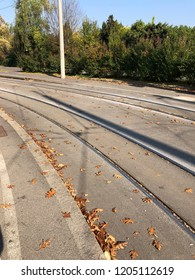 Linz, Austria - October 17. 2018 - tram track in Linz - The 4 streetcar lines in Linz are crucial part of local public transport.