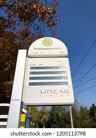 Linz, Austria - October 17. 2018 - sign of a tram station in Linz - The 4 streetcar lines in Linz are crucial part of local public transport.