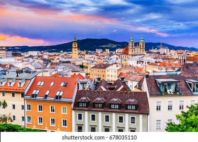 Linz, Austria. Panoramic view of the old town.