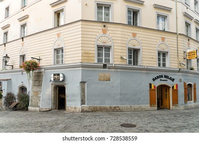 LINZ, AUSTRIA - SEPTEMBER 9, 2017: The historic building where Mozart, then 6, gave his first public recital at Trinity Inn on Oct. 1, 1762. Barok Belgie and Abbey's pubs occupy the main floor today.