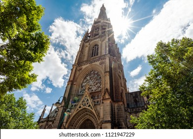 Linz, Austria/Upper Austria-06262018:The tower of the new cathedral in Linz in Upper Austria