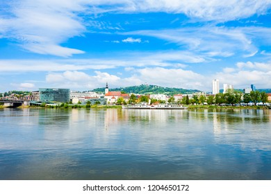 Linz city centre and Danube river in Austria. Linz is the third largest city of Austria.