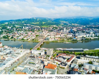 Linz city centre and Danube river aerial panoramic view in Austria. Linz is the third largest city of Austria.