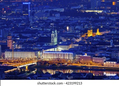 Linz panorama at night. Linz, Upper Austria, Austria.