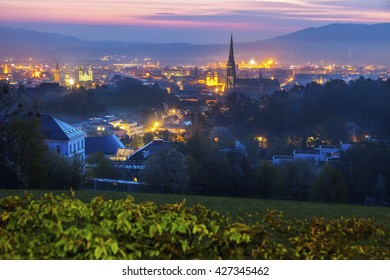Linz panorama at sunrise. Linz, Upper Austria, Austria.