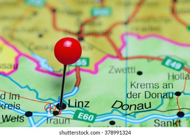Austria map stock photos images photography shutterstock linz pinned on a map of austria gumiabroncs Images