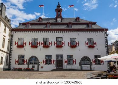 Linz am Rhein, Germany - August 6th 2012: The beautiful Town Hall in Linz am Rhein in Germany.