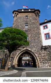 Linz am Rhein, Germany - August 9th 2012: A view of the Rheintor - the city gate tower in the picturesque town of Linz am Rhein in Germany.