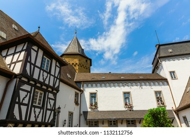 Linz am Rhein, Germany May 31, 2018: patio of the Castle Linz in Linz am Rhein. The town is a popular tourist destination because of its colorful half-timbered houses