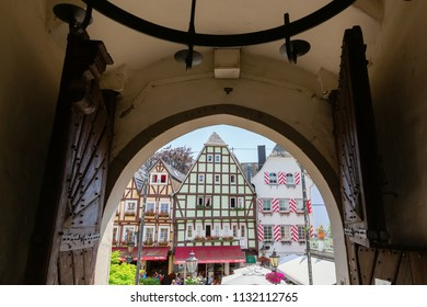 Linz am Rhein, Germany May 31, 2018: view out of the Castle Linz to the old town with unidentified people. The town is a popular tourist destination because of its colorful half-timbered houses