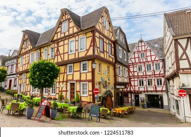 Linz am Rhein, Germany May 31, 2018: old town of Linz am Rhein with unidentified people. The town is a popular tourist destination because of its colorful half-timbered houses