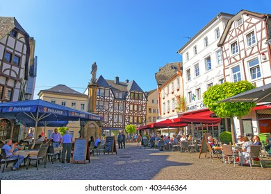 LINZ AM RHEIN, GERMANY - MAY 4, 2013: Street view on Marktplatz in Linz am Rhein in Rhineland-Palatinate in Germany. Square in the City center. Tourists around.