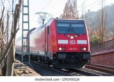 linz, rhineland/germany - 16 02 19: db german train on the train tracks