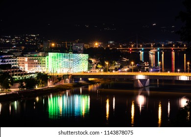 Linz, Upper Austria, Austria - 2018 July 28: Ars Electronica Center Linz
