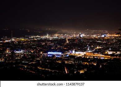 Linz, Upper Austria, Austria - 2018 July 28: Linz from above at night