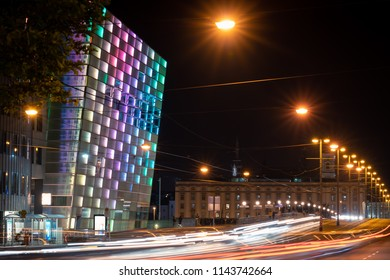 Linz, Upper Austria, Austria - 28 July 2018: Niebelungenbruecke and Ars Electronica Center with long exposure traffic