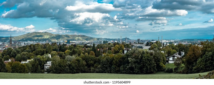 Linz, Upper Austria, Austria - Aug, 4. 2018: Panorama view of Linz