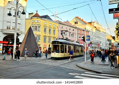 Linz, Upper Austria / Austria - October 17th 2018: Local street car making its way through the city of Linz in Austria.