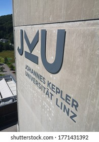 Linz, Upperaustria/Austria - July 1, 2020: Johannes Kepler University Linz, Top of the TNF Tower (German: TNF Turm der Johannes Kepler Universität JKU). Univerity Sign.