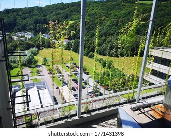 Linz, Upperaustria/Austria - July 1, 2020: Johannes Kepler University Linz, Top of the TNF Tower (German: TNF Turm der Johannes Kepler Universität JKU). Roof garden called Somnium.
