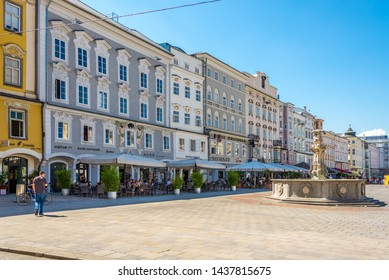 LINZ,AUSTRIA - JUNE 18,2019 - In the Main Square of Linz. Linz is the third-largest city of Austria