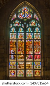 LINZ,AUSTRIA - JUNE 18,2019 - View at Stained Glass in New Cathedral of Linz. Linz is the third-largest city of Austria.