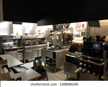 Linz-Haid, Austria - October 19. 2018 - kitchen of a McDonalds restaurant