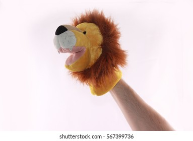 Lion Animals puppets show - isolated white background