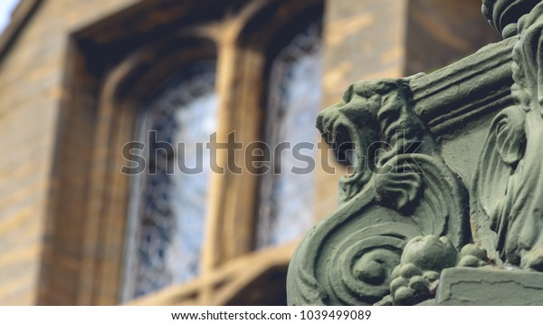 Lion Base of Lamp Post C of Old Municipal Building in Taunton Somerset England, Shallow Depth of Field