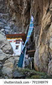The Lion Cave - meditation house near the Tiger's Nest monastery  (Taktsang Monastery) in Kingdom of Bhutan